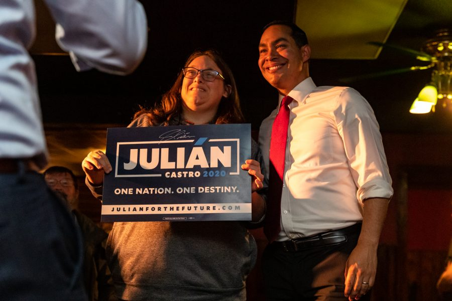 Julian Castro, former Secretary of Housing and Urban Development and current Democratic candidate for president takes a photo with an attendee at The Mill after appearing on the Political Party Live podcast on Sunday, Apr. 14, 2019.