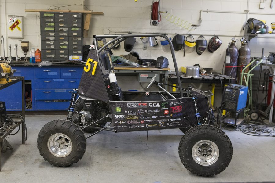 This year's Baja racing vehicle stands in the Chemistry Building on Wednesday, April 17, 2019. (Jenna Galligan) The vehicle will be previewed in the Seaman Center New Annex on Thursday, April 18.