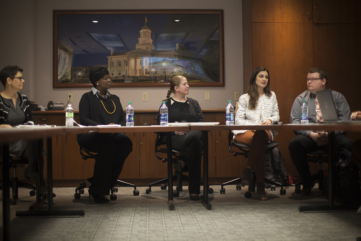 Members of the Diversity, Equity, and Inclusion Action Plan Development Group and shared governance meet in the IMU on Thursday, April 4, 2019. The group discussed the campus-climate survey results and unveiled the UI's new Diversity, Equity, and Inclusion Action Plan.