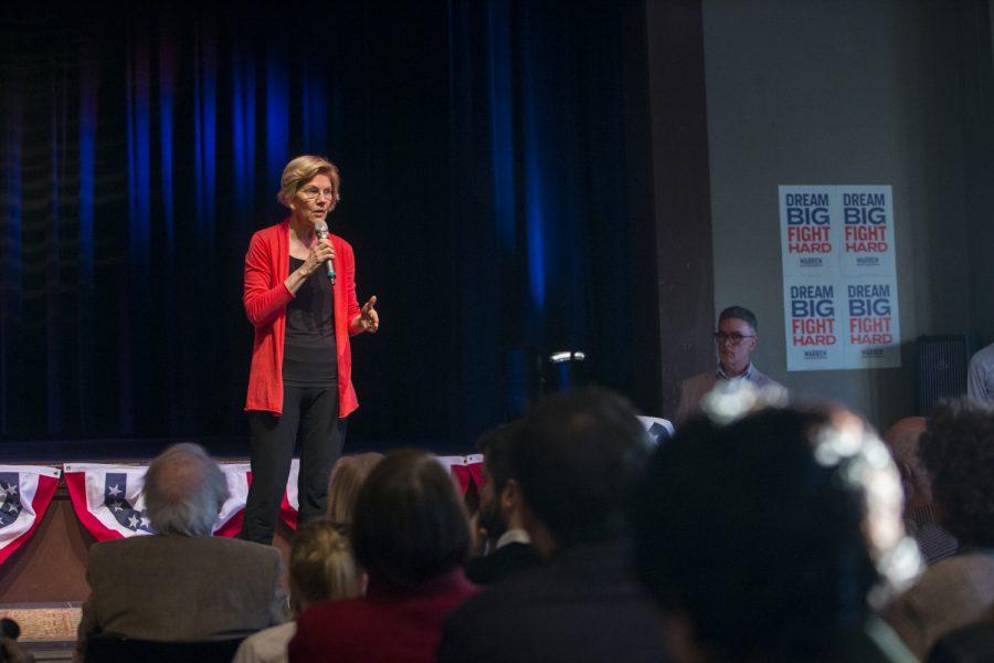 Sen. Elizabeth Warren, D-Mass., addresses a crowd at CSPS Hall in Cedar Rapids on Thursday, April 25, 2019. The Linn Phoenix Club hosted the event.