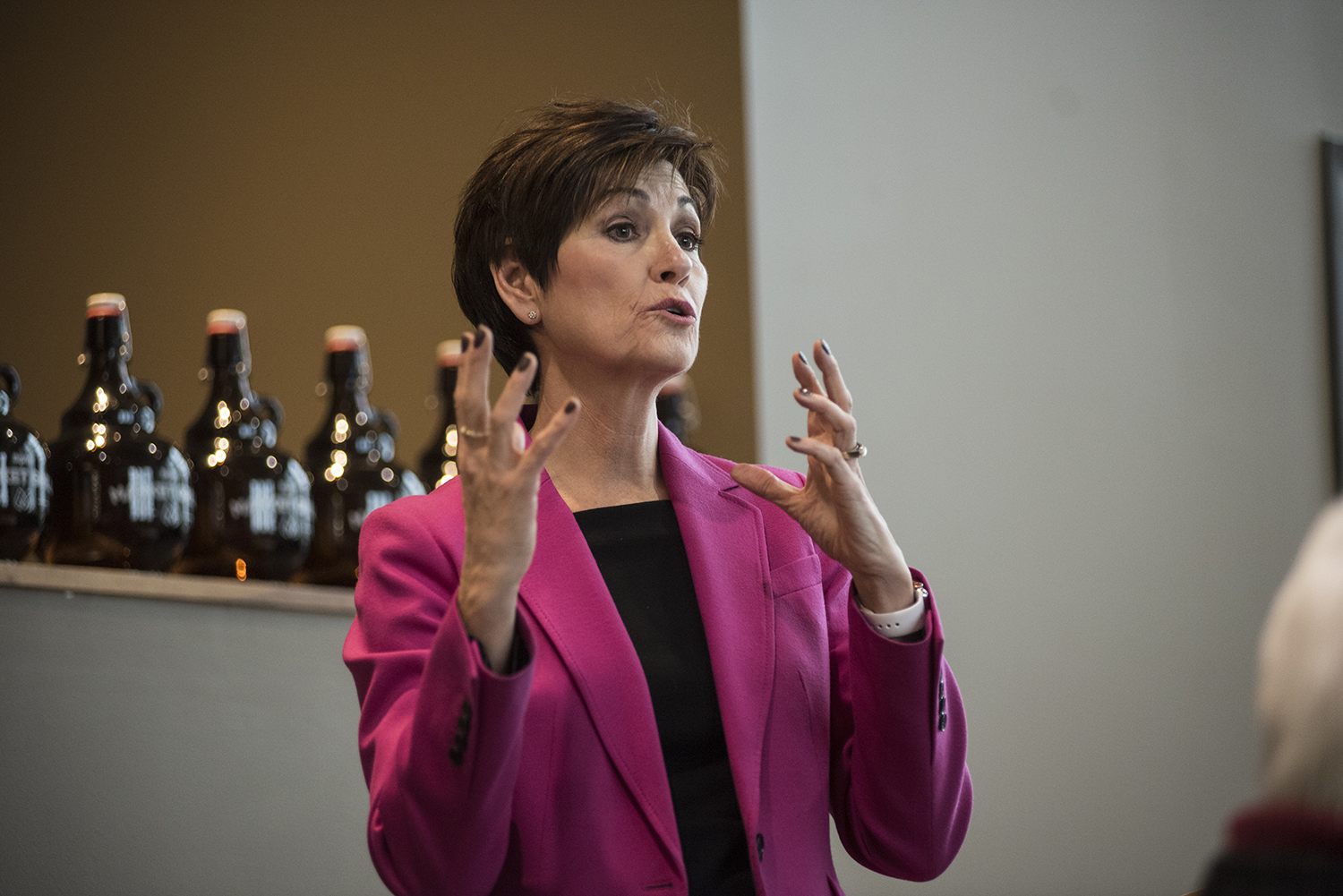 Kim Reynolds talks at Hy-Vee in Coralville during her 99 Counties tour on Thursday, April 5, 2018.