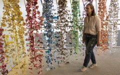 A sweet homecoming for artist alum who makes sculptures out of candy wrappers