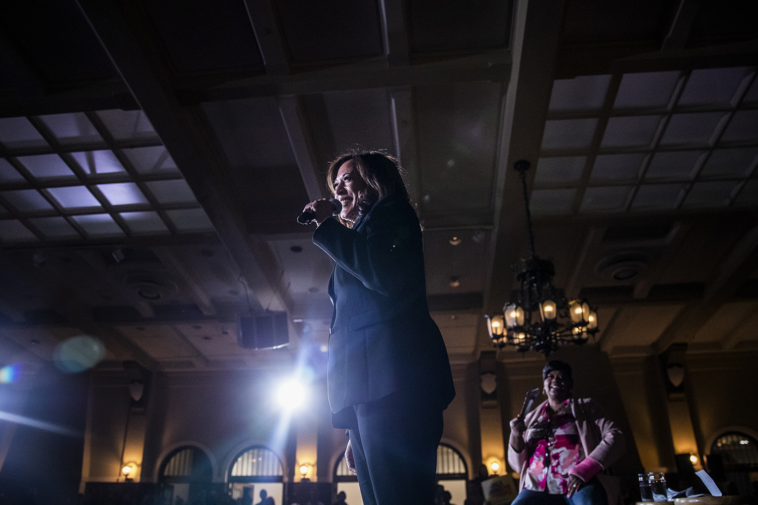 Sen. Kamala Harris, D-Calif., speaks during a town hall at the IMU on Wednesday, April 10, 2019. Harris is running for president in the 2020 election. (Katina Zentz/The Daily Iowan)