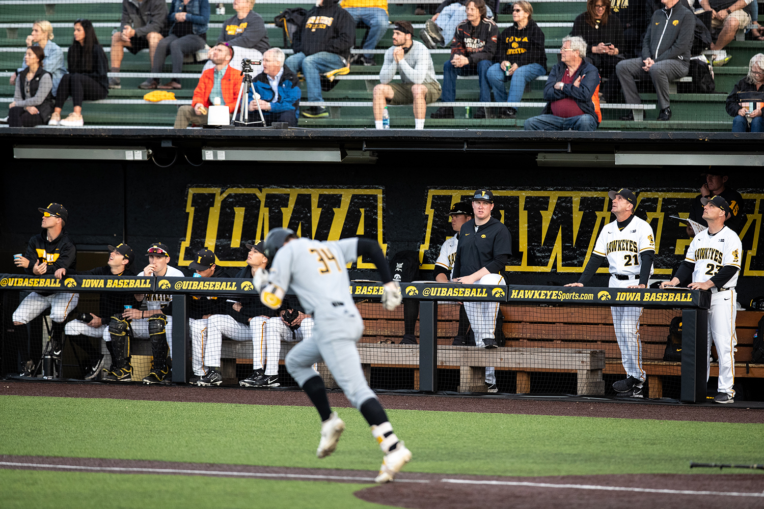 The+Iowa+baseball+watches+a+hit+into+the+outfield+during+the+baseball+game+against+Milwaukee+at+Duane+Banks+Field+on+Tuesday%2C+April+23%2C+2019.+The+Hawkeyes+defeated+the+Panthers+5-4.