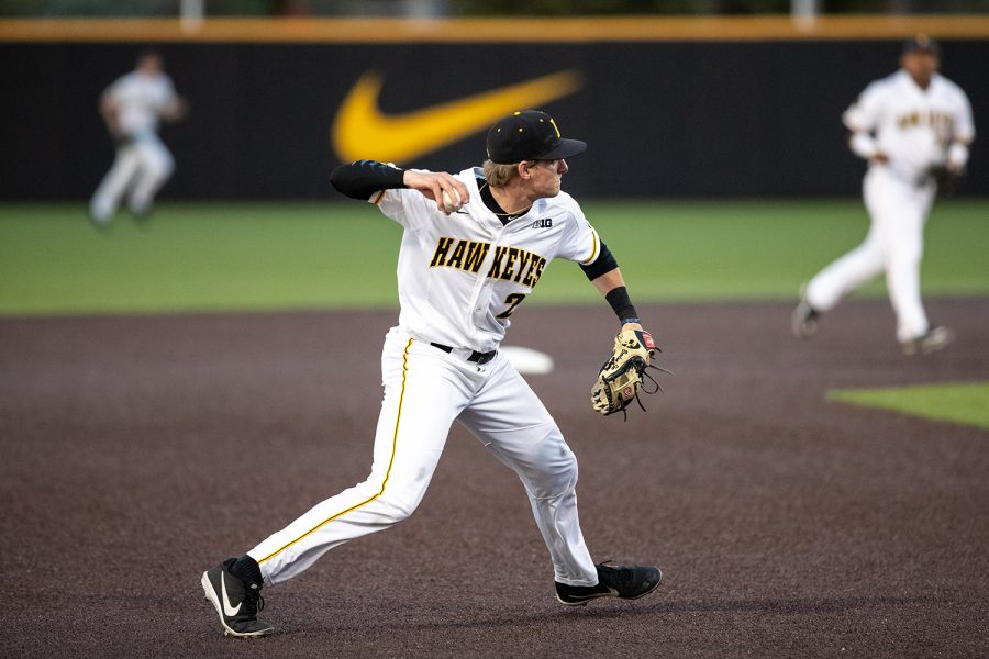 Iowa+infielder+Brendan+Sher+throws+towards+first+base+during+the+baseball+game+against+Milwaukee+at+Duane+BanksField+on+Tuesday%2C+April+23%2C+2019.+The+Hawkeyes+defeated+the+Panthers+5-4.