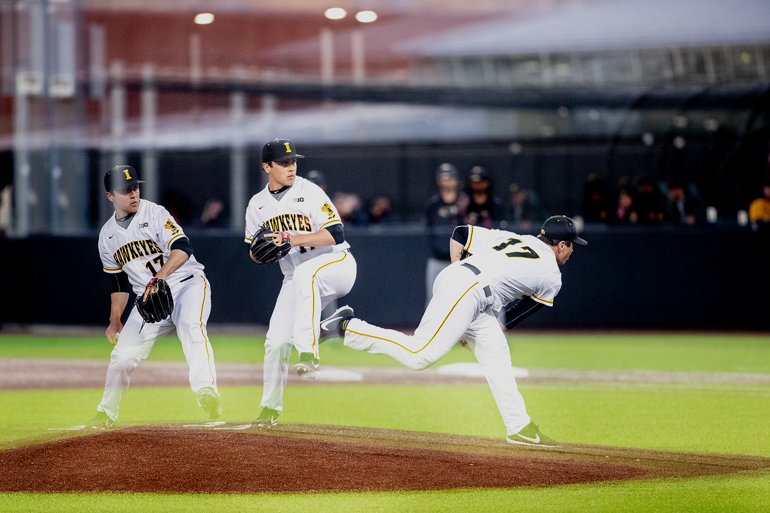 In+this+multiple+exposure%2C+Iowa+pitcher+Clayten+Nettleton+throws+a+pitch+during+the+baseball+game+against+Milwaukee+at+Duane+Banks+Field+on+Tuesday%2C+April+23%2C+2019.+The+Hawkeyes+defeated+the+Panthers+5-4.