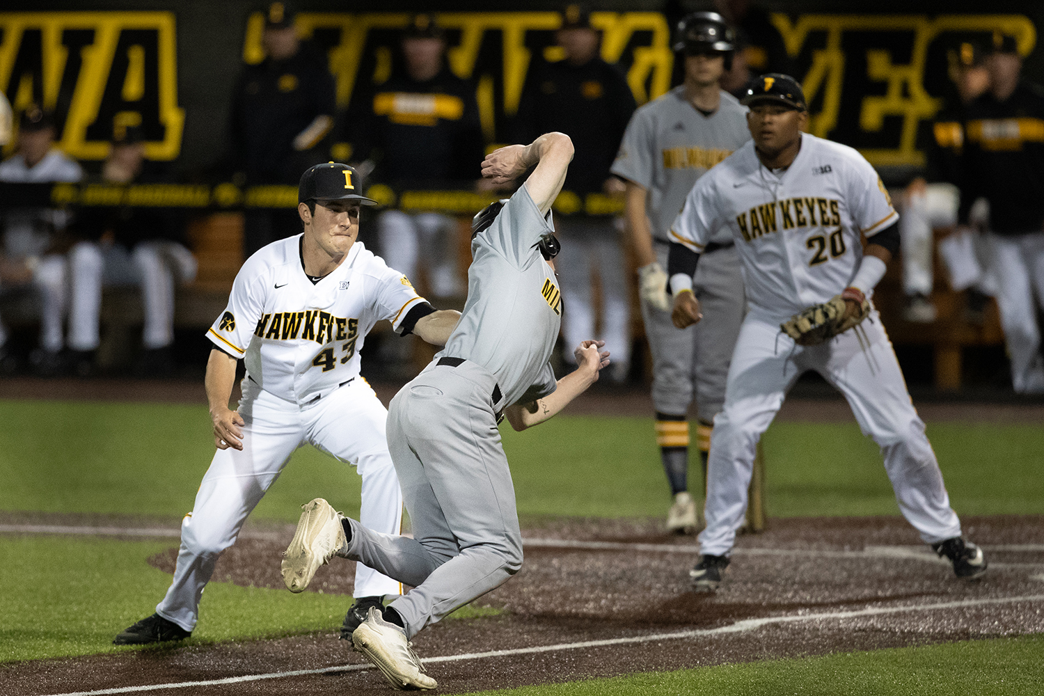 Iowa+pitcher+Grant+Leonard+prevents+a+game+winning+run+during+the+baseball+game+against+Milwaukee+at+Duane+Banks+Field+on+Tuesday%2C+April+23%2C+2019.+The+Hawkeyes+defeated+the+Panthers+5-4.