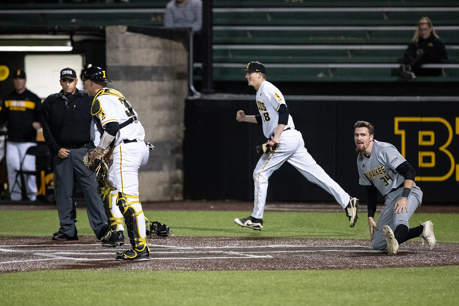 Milwaukee+catcher+Tyler+Bordner+shows+frustration+at+the+umpires+call+during+the+baseball+game+against+Iowa+at+Duane+Banks+Field+on+Tuesday%2C+April+23%2C+2019.+The+Hawkeyes+defeated+the+Panthers+5-4.