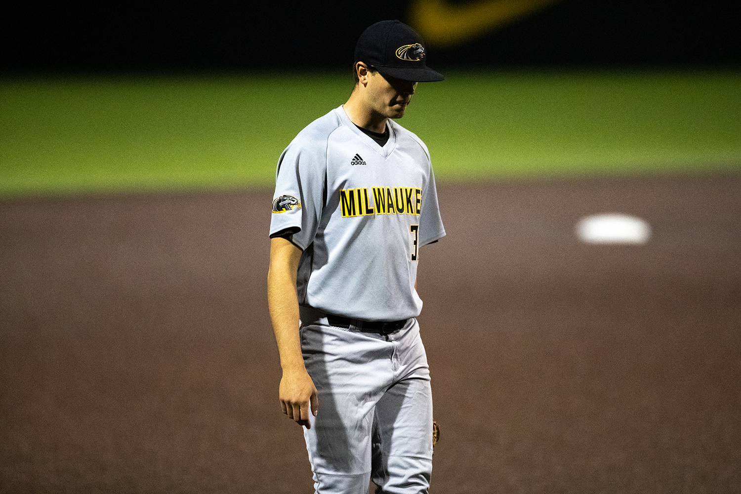 Milwaukee+pitcher+Alex+Mcintosh+after+a+game+winning+homerun+in+the+11th+inning+after+the+baseball+game+against+Iowa+at+Duane+Banks+Field+on+Tuesday%2C+April+23%2C+2019.+The+Hawkeyes+defeated+the+Panthers+5-4.