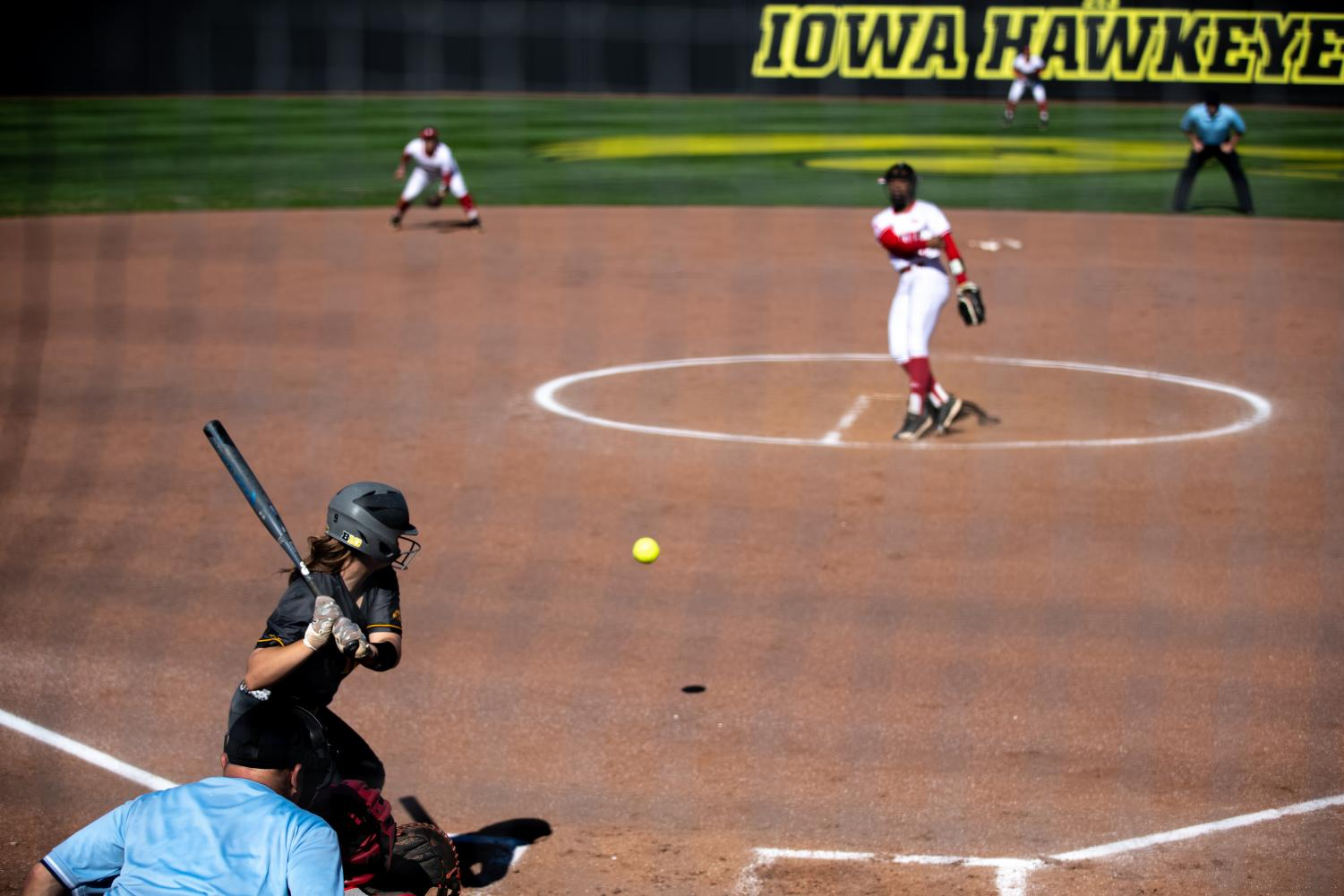 Iowa+utility+player+Abby+Lien+prepares+to+swing+during+the+game+against+Nebraska+at+the+Bob+Pearl+Softball+Field+on+Wednesday%2C+April+24%2C+2019.+The+Hawkeyes+were+defeated+7-5+by+the+Huskers.+