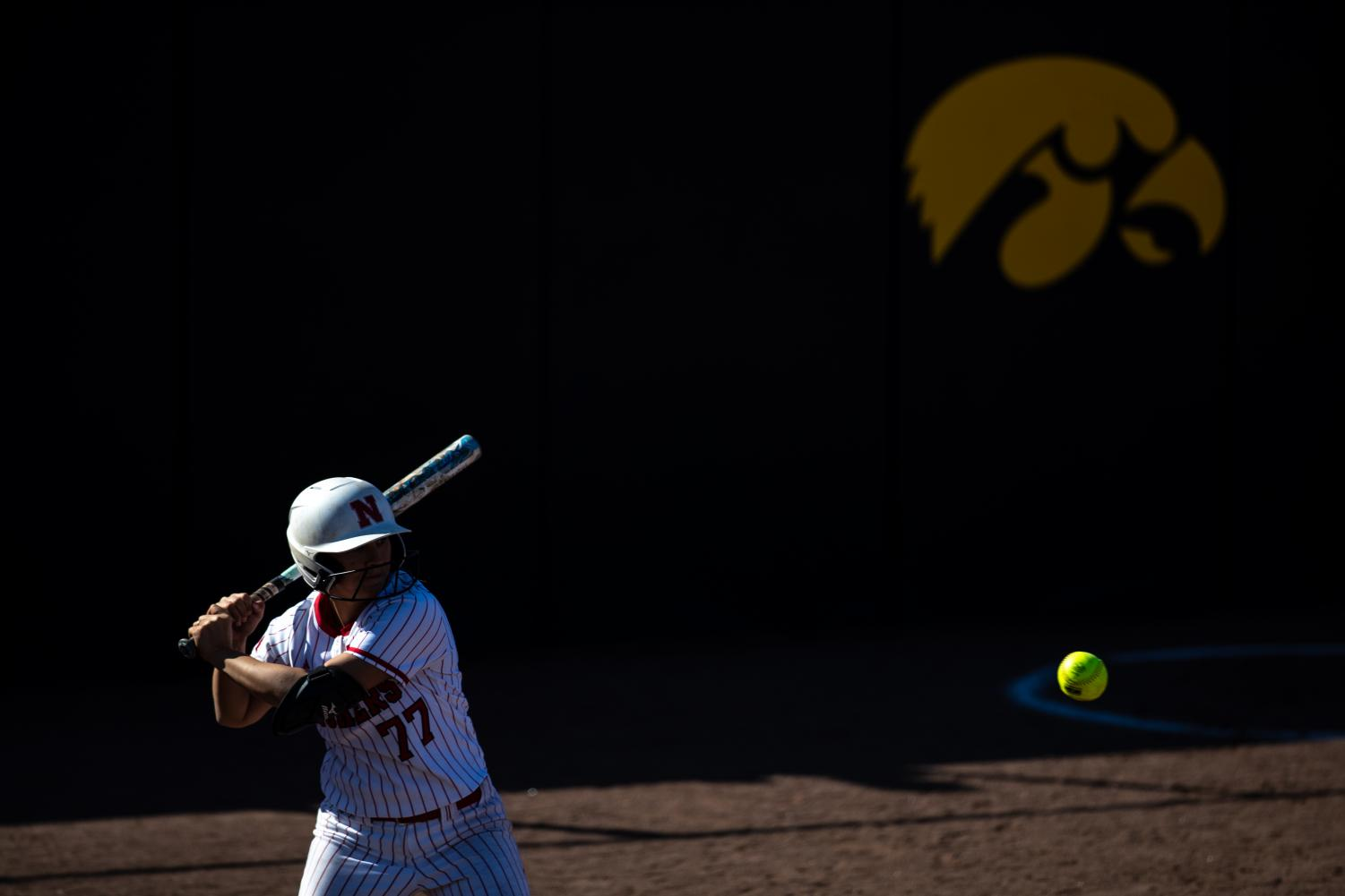 Nebraska+infielder+Samantha+Owen++eyes+the+ball+during+the+game+against+Iowa+at+the+Bob+Pearl+Softball+Field+on+Wednesday%2C+April+24%2C+2019.+The+Hawkeyes+were+defeated+7-5+by+the+Huskers.+