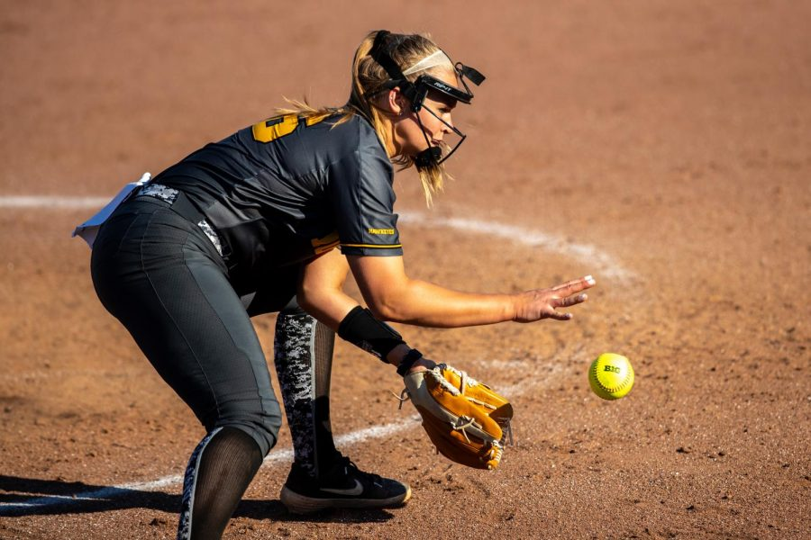Iowa utility player Sarah Lehman catches a ground ball during the game against Nebraska at the Bob Pearl Softball Field on Wednesday, April 24, 2019.