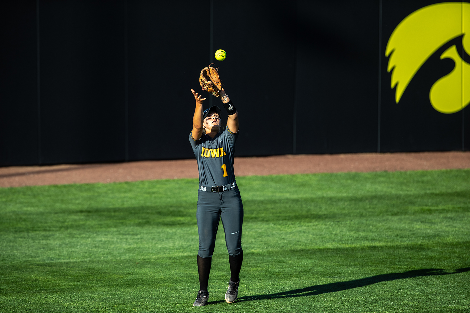 Iowa+infielder+Cameron+Cecilname+catches+a+ball+in+the+outfield+during+the+game+against+Nebraska+at+the+Bob+Pearl+Softball+Field+on+Wednesday%2C+April+24%2C+2019.+The+Hawkeyes+were+defeated+7-5+by+the+Huskers.