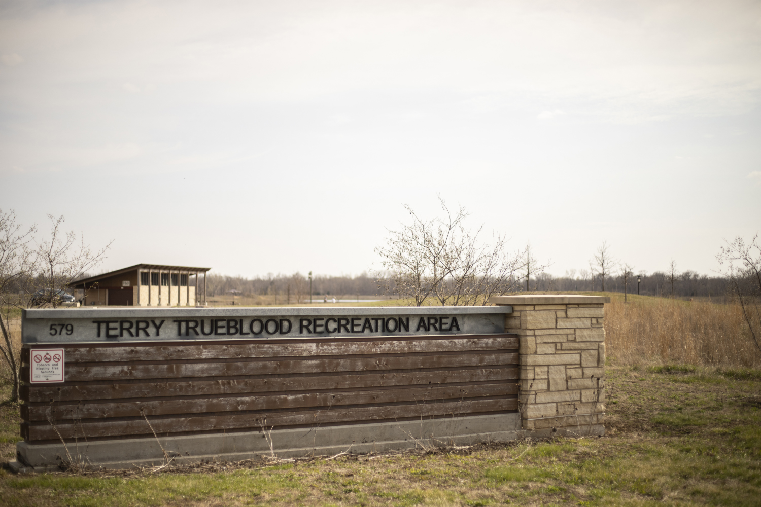 The entrance to Terry Trueblood Recreation Area is seen on Tuesday, April 17, 2019. (Ryan Adams/The Daily Iowan)