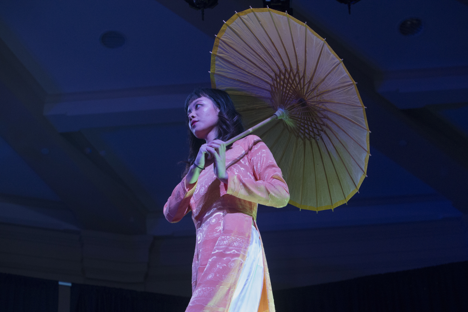 A University of Iowa student represents Southeast Asia during the Walk It Out Fashion Show at the IMU Main Lounge on Saturday, April 6, 2019. (Jenna Galligan/The Daily Iowan)