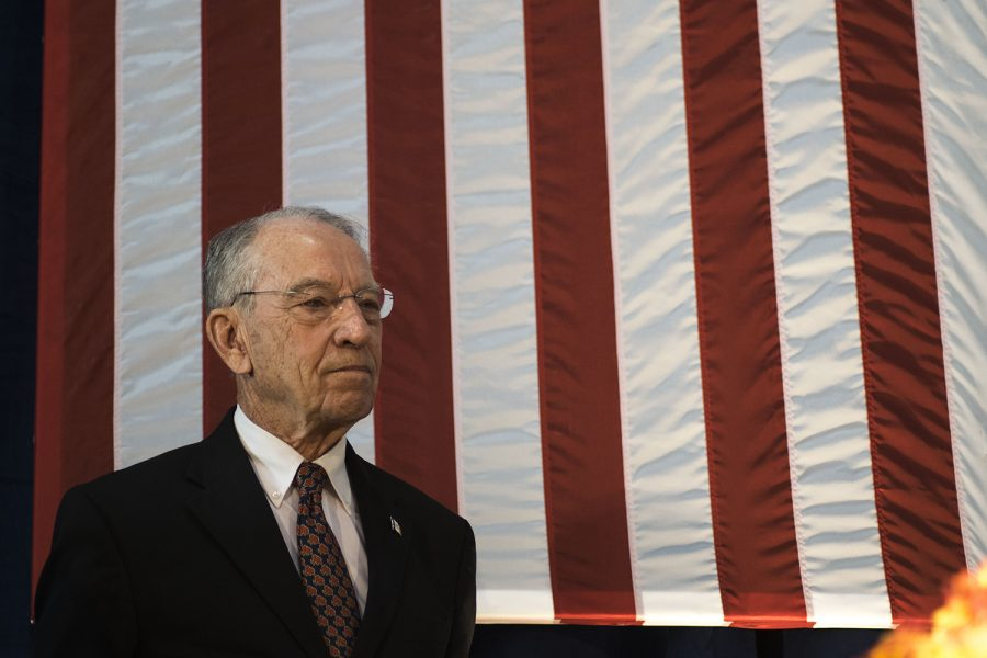 Chuck Grassley stands on stage at the Second Annual Harvest Festival on Saturday, October 13, 2018. The event was a fundraiser for current governor Kim Reynolds.