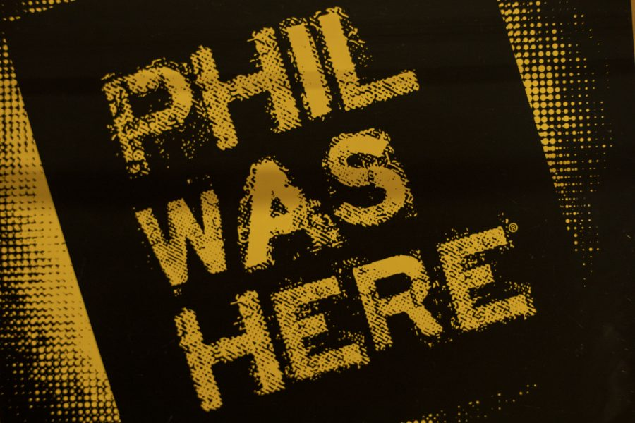 One+of+the+%22Phil+Was+Here%22+signs+is+pictured+inside+Adler+Journalism+Building+on+April+1%2C+2019.+