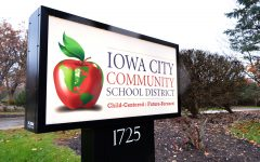 The Iowa City Community School District sign is seen on November 5th, 2018. (Michael Guhin/The Daily Iowan)