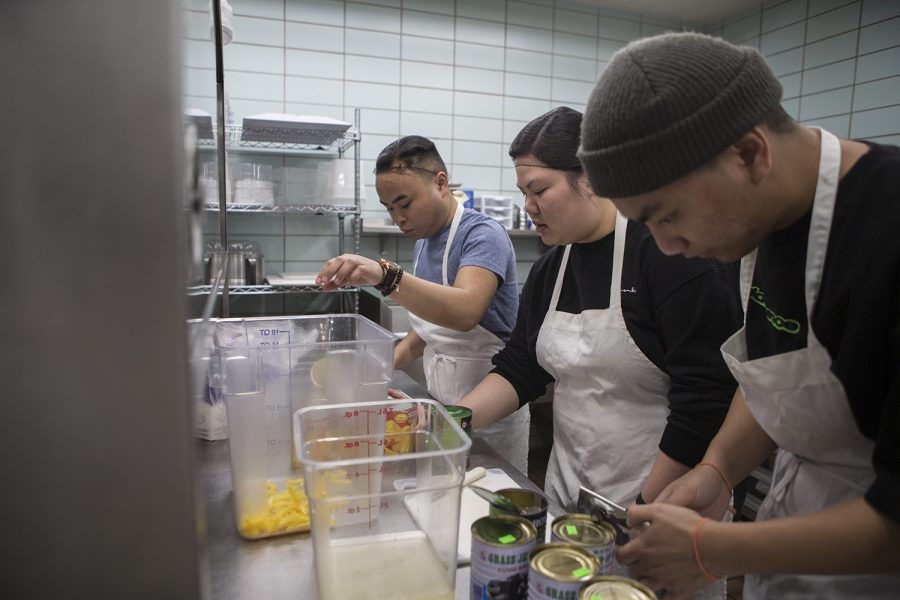Members of the Asian American Student Union prepare Ché Thài for Taste of Asia in the IMU kitchen on Thursday, April 11, 2019. The event will take place in the IMU Main Lounge on April 12, 2019 at 9:00 pm.