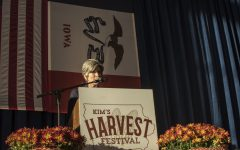 Joni Ernst speaks at the Second Annual Harvest Festival on Saturday, October 13, 2018. The event was a fundraiser for current governor Kim Reynolds.
