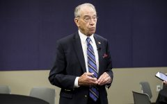 Senate Judiciary Committee Chair Chuck Grassley, R-Iowa, talks to reporters at the Eighth Circuit Judicial Conference in Des Moines Friday, August 17, 2018. During his remarks, Grassley told reporters hearings for Trump's U.S. Supreme Court Nominee, Brett Kavanaugh, would begin Sept. 4, after the committee finishes reviewing nearly 1 milllion documents pertaining to Kavanaugh's nomination.