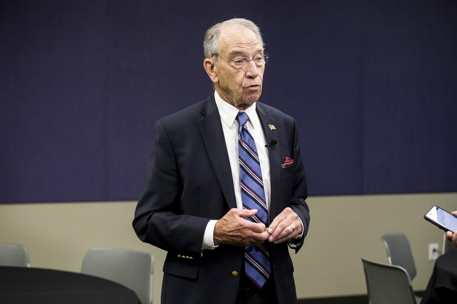 Senate Judiciary Committee Chair Chuck Grassley, R-Iowa, talks to reporters at the Eighth Circuit Judicial Conference in Des Moines Friday, August 17, 2018.