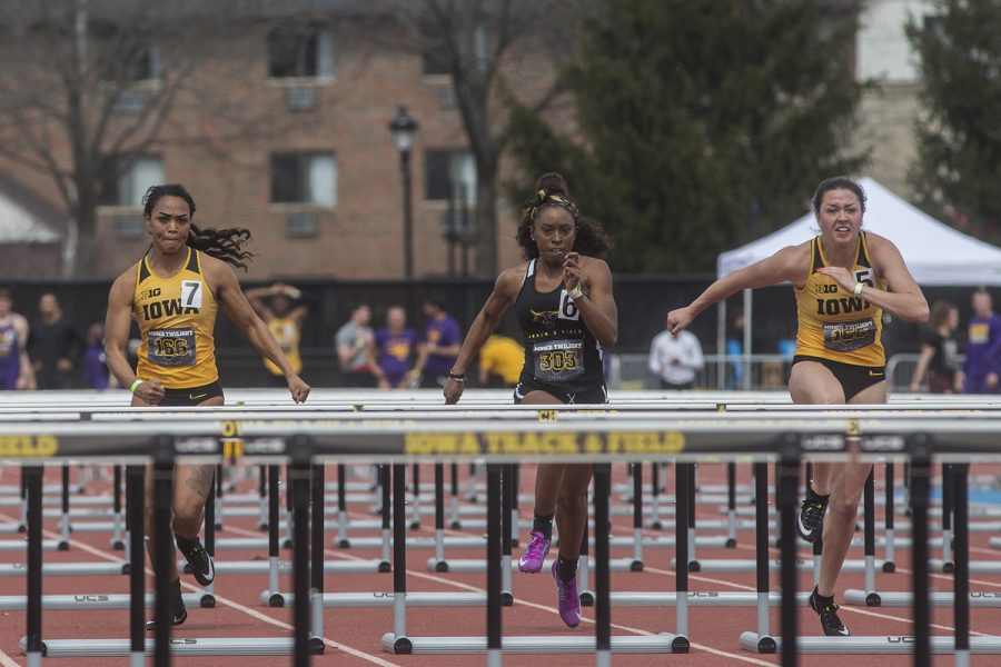 From+left%3A+Iowa%27s+Tria+Seawater-Simmons%2C+Minnesota+State%27s+Alexis+Smith%2C+and+Iowa%27s+Jenny+Kimbro+compete+in+the+women%27s+100+meter+hurdles+during+the+19th+annual+Musco+Twilight+meet+at+the+Francis+X.+Cretzmeyer+Track+in+Iowa+City+on+Thursday%2C+April+12.+Kimbro+finished+first+with+the+time+of+13.77.+