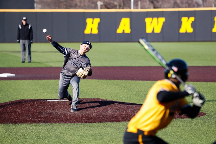 Clarke+pitcher+Tsubasa+Maruyama+pitches+the+ball+to+Iowa%27s+Brendan+Sher+during+a+baseball+game+against+the+University+of+Iowa+on+Sunday%2C+Mar.+31%2C+2019.+The+Hawkeyes+defeated+the+Pride+3-2.+