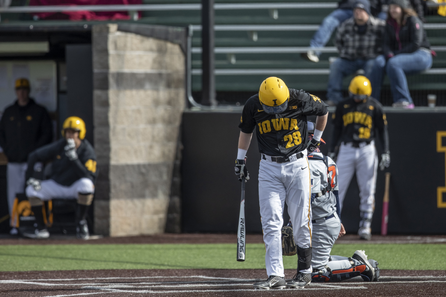 Hawkeye batter Chris Whelan prepares to bat during the baseball game against Illinois at Duane Banks Field on March 30, 2019. The Hawkeyes defeated the Fighting Illini 2-1 after the 9th inning.(Ryan Adams/The Daily Iowan)