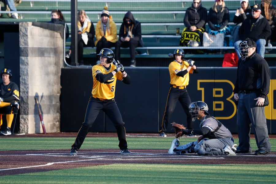 Iowa%27s+Zeb+Adreon+stands+in+the+batters+box+during+a+baseball+game+against+Clarke+University+on+Tuesday%2C+Apr.+2%2C+2019.+