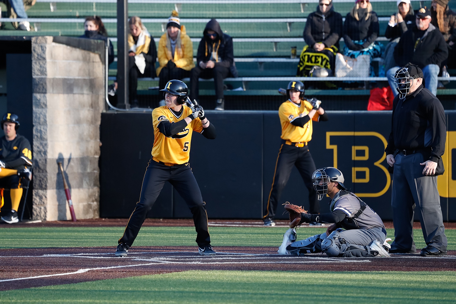 Iowa's Zeb Adreon stands in the batters box during a baseball game against Clarke University on Tuesday, Apr. 2, 2019.