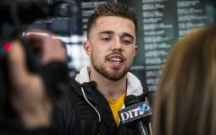 Iowa wide receiver Nick Easley talks to the media during Pro Day at the Football Performance Center on Monday, March 25, 2019.