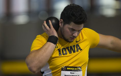 Iowa track's Reno Tuufuli throws out the competition at Musco
