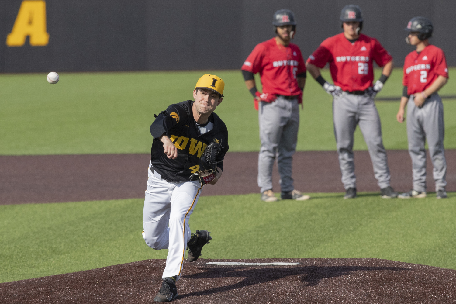 Iowa pitcher Grant Leonard warms up to pitch during the seventh inning of the afternoon Iowa vs Rutgers game at Duane Banks Field on Saturday, April 7, 2019. The Hawkeyes defeated the Scarlet Knights 9-5.