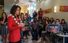 Rep. Tulsi Gabbard, D-Hawaii, speaks to the audience during a meet-and-greet at Yotopia in Iowa City on Tuesday, April 16, 2019. Attendees gathered to listen to Gabbard discuss topics such as defunding regime changing wars, environmental policies, and health care.