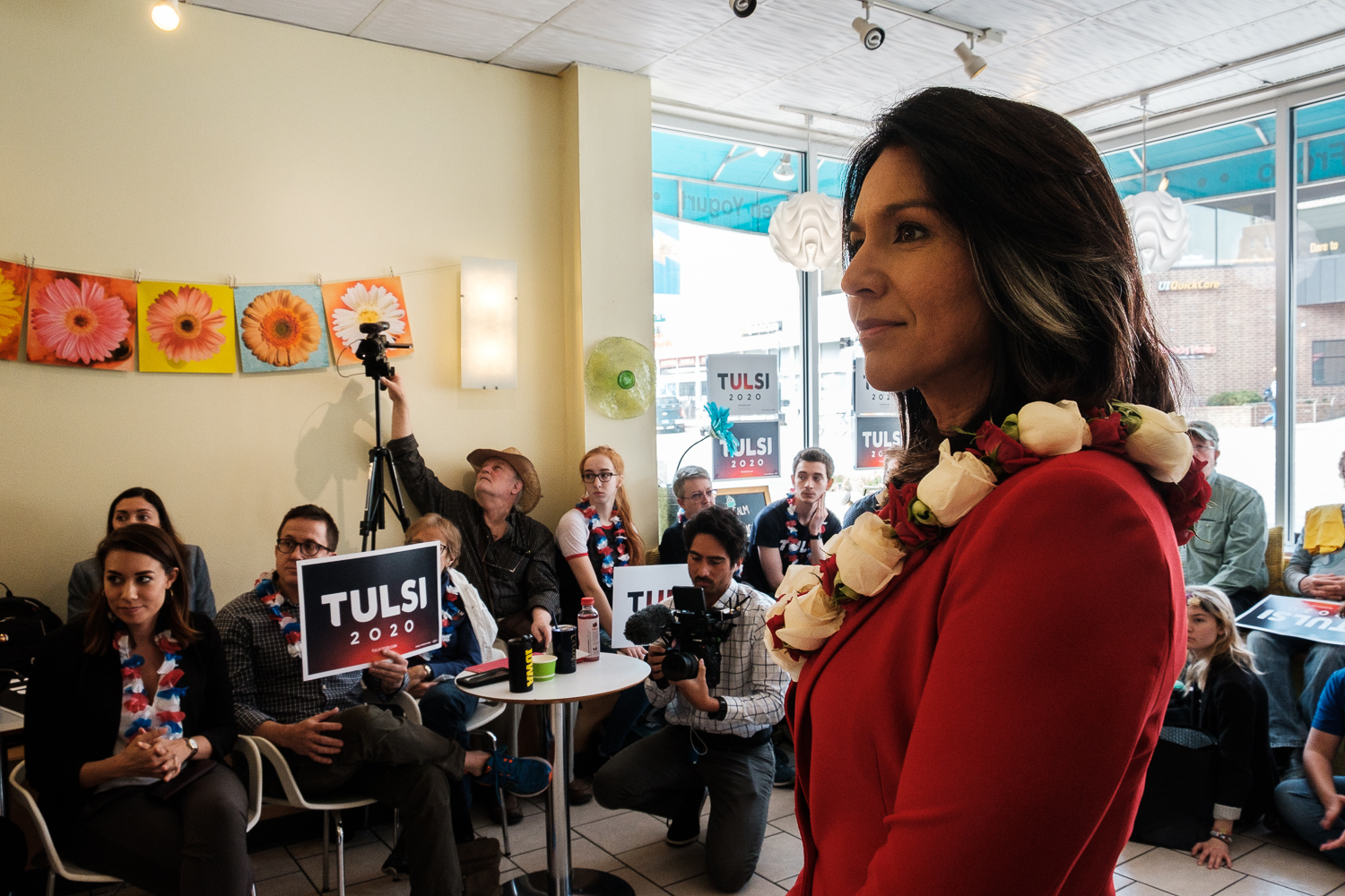 Rep. Tulsi Gabbard, D-Hawaii listens to a question during a meet-and-greet at Yotopia in Iowa City on Tuesday, April 16, 2019. Attendees gathered to listen to Gabbard discuss topics such as defunding regime changing wars, environmental policies, and medicare for all.