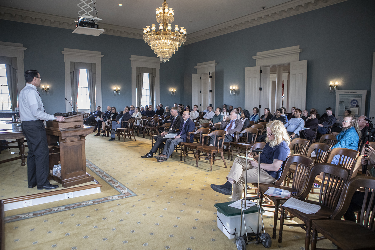 Associate Vice President for Enrollment Management Brent Gage speaks during the Senate Faculty meeting on Tuesday, April 23, 2019.
