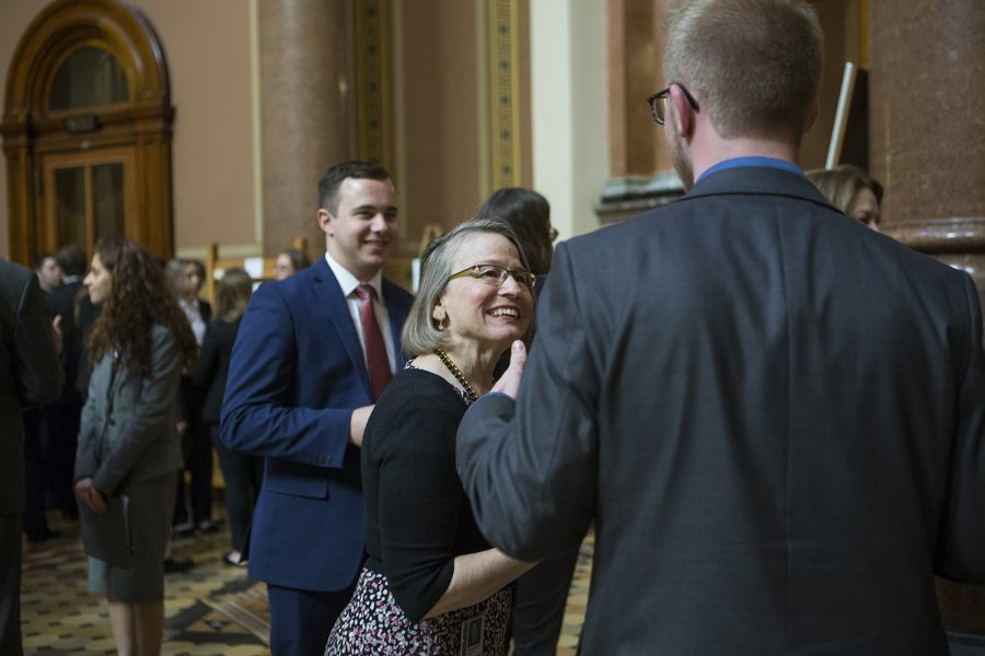 Senator Mariannette Miller-Meeks speaks with a member of UISG during the Hawkeye Caucus at the State Capitol in Des Moines on April 9, 2019. The Hawkeye Caucus provides members of the University of Iowa community to come speak with Iowa legislators.