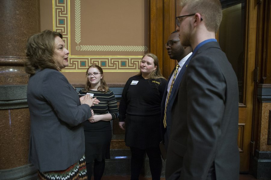 Senator Annette Sweeney speaks with UISG senators during the Hawkeye Caucus at the State Capitol in Des Moines on April 9, 2019. The Hawkeye Caucus provides members of the University of Iowa community to come speak with Iowa legislators.