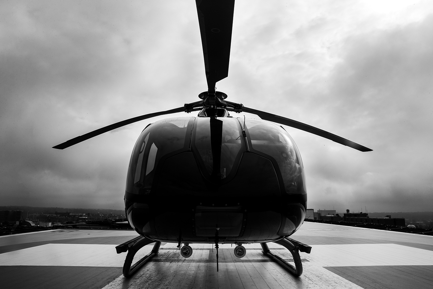 An+AirCare+helicopter+sits+on+the+roof+of+UIHC+on+March+20%2C+2019+in+Iowa+City%2C+Iowa.+