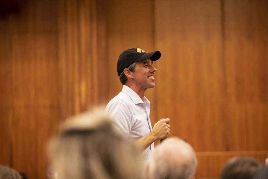 Beto O'Rourke smiles at supporters during his event in the Second Floor Ballroom of the IMU on April 7, 2019. O'Rourke will be running for the Democratic nomination for president.