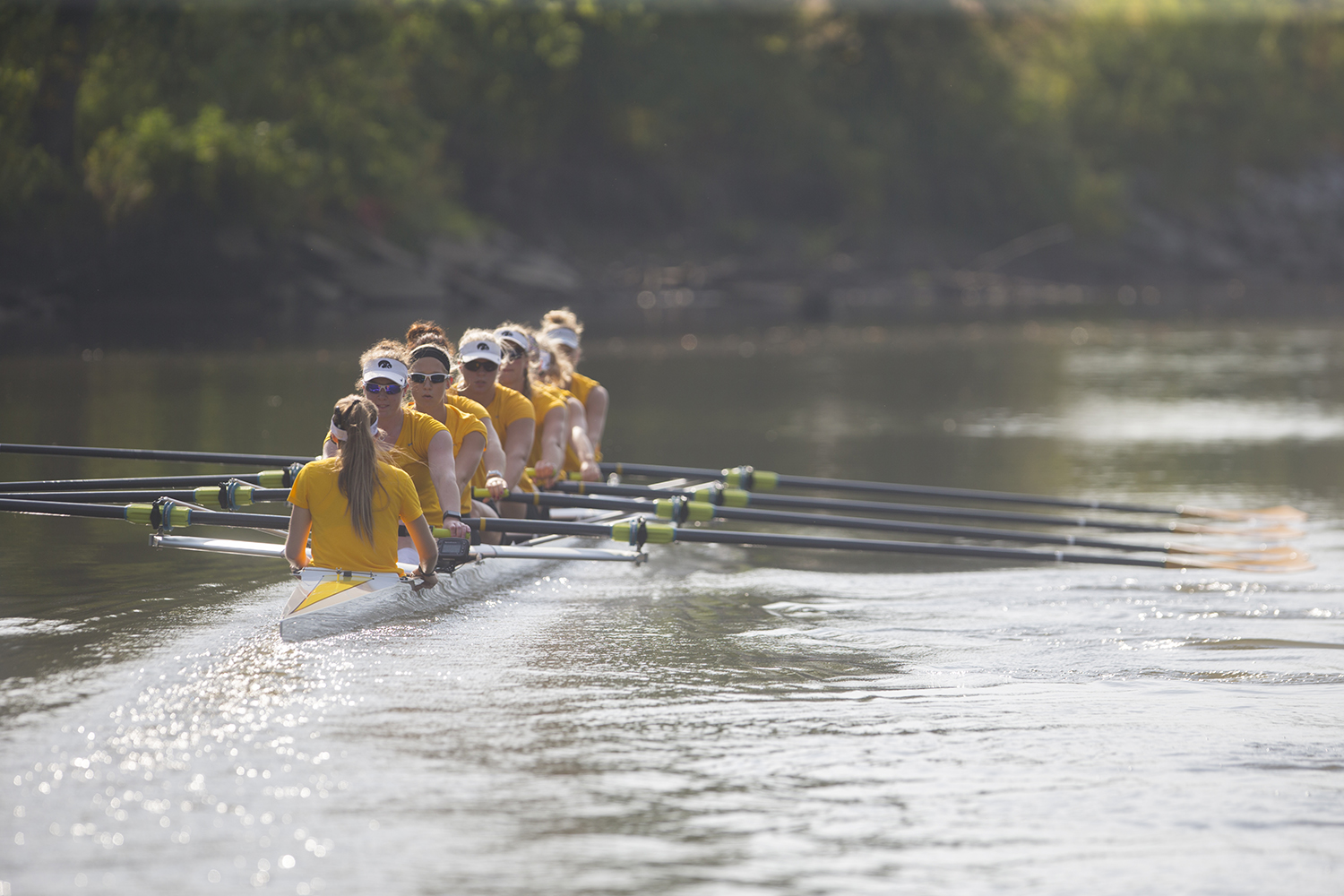 Iowa's rowing team practices on the Iowa River on Friday, Sept. 15, 2017. The rowing team recently finalized their schedule, with two home competitions on Oct. 6 and 7.