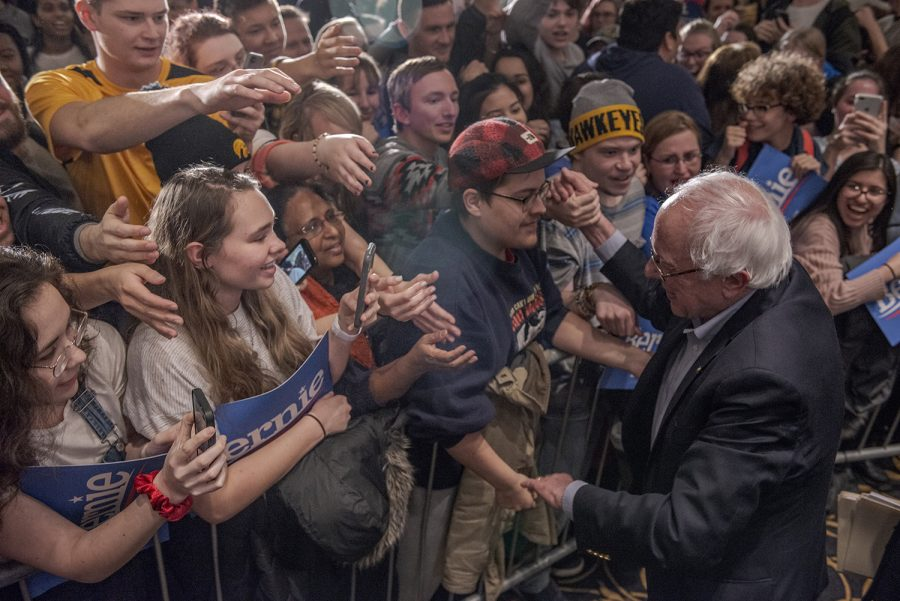Sen.+Bernie+Sanders%2C+I-Vt.%2C+greets+supporters+during+a+campaign+rally+at+the+Iowa+Memorial+Union+on+Friday%2C+March+8%2C+2019.+The+rally+was+a+part+of+Sen.+Sanders%27+first+trip+to+Iowa+since+announcing+his+2020+presidential+bid.
