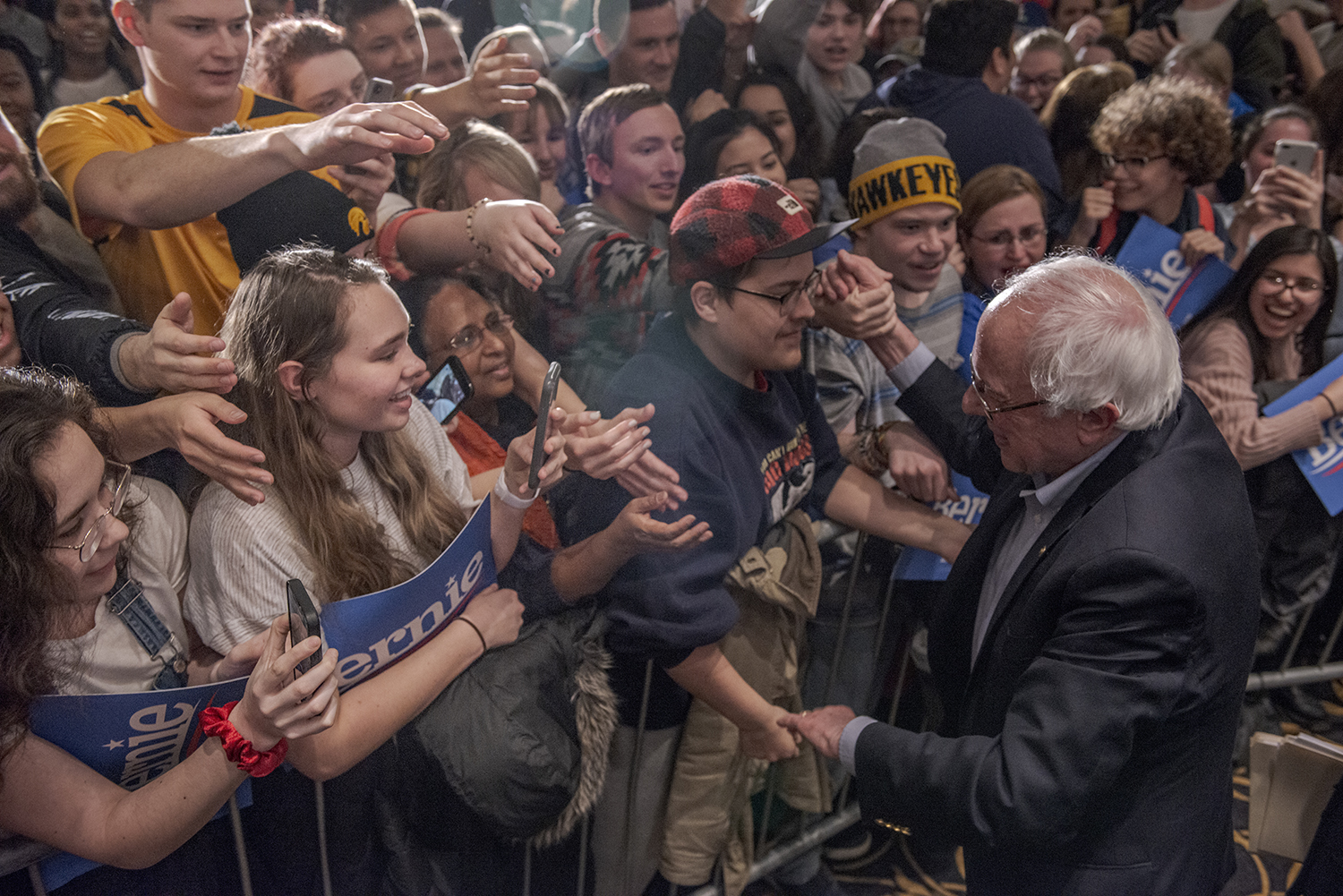 Sen. Bernie Sanders, I-Vt., greets supporters during a campaign rally at the Iowa Memorial Union on Friday, March 8, 2019. The rally was a part of Sen. Sanders' first trip to Iowa since announcing his 2020 presidential bid.