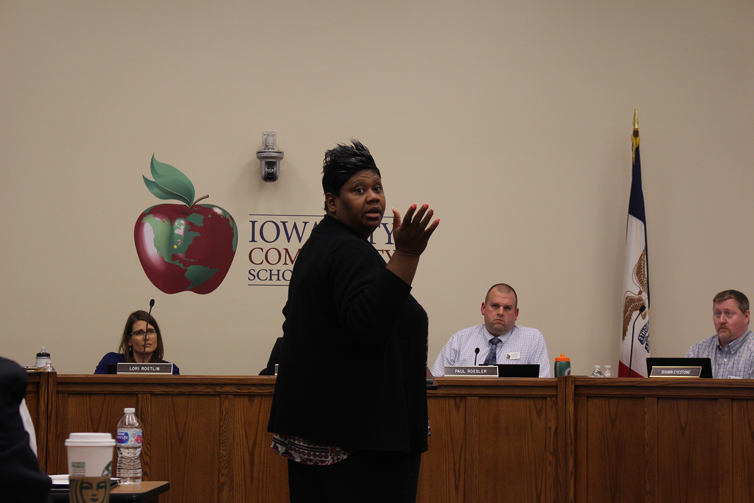 Member of the Johnson County Board of Supervisors Royceann Porter speaks to the school board during their meeting on April 23, 2019.