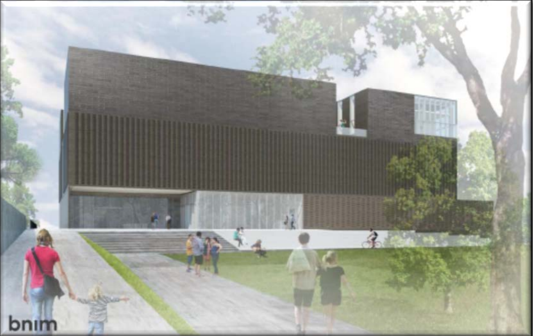 A June 2017 exterior rendering of the Stanley Museum of Art facility looking west from Gibson Square and Madison Street. (Source: State Board of Regents)