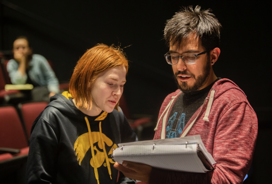 A rehearsal for 2PM in Faith, Nebraska takes place on Thursday, April 25th, 2019. 2PM in Faith, Nebraska is part of the University of Iowa's New Play Festival featuring works written and directed by University of Iowa graduate theater students.