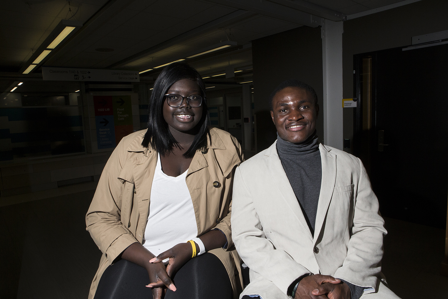 Adiu Arou (left) and Dady Mansaray pose for a portrait in the Main Library on Monday, April 1, 2019. Mansaray and Arou will be running for president and vice president on the UI Charge ticket.