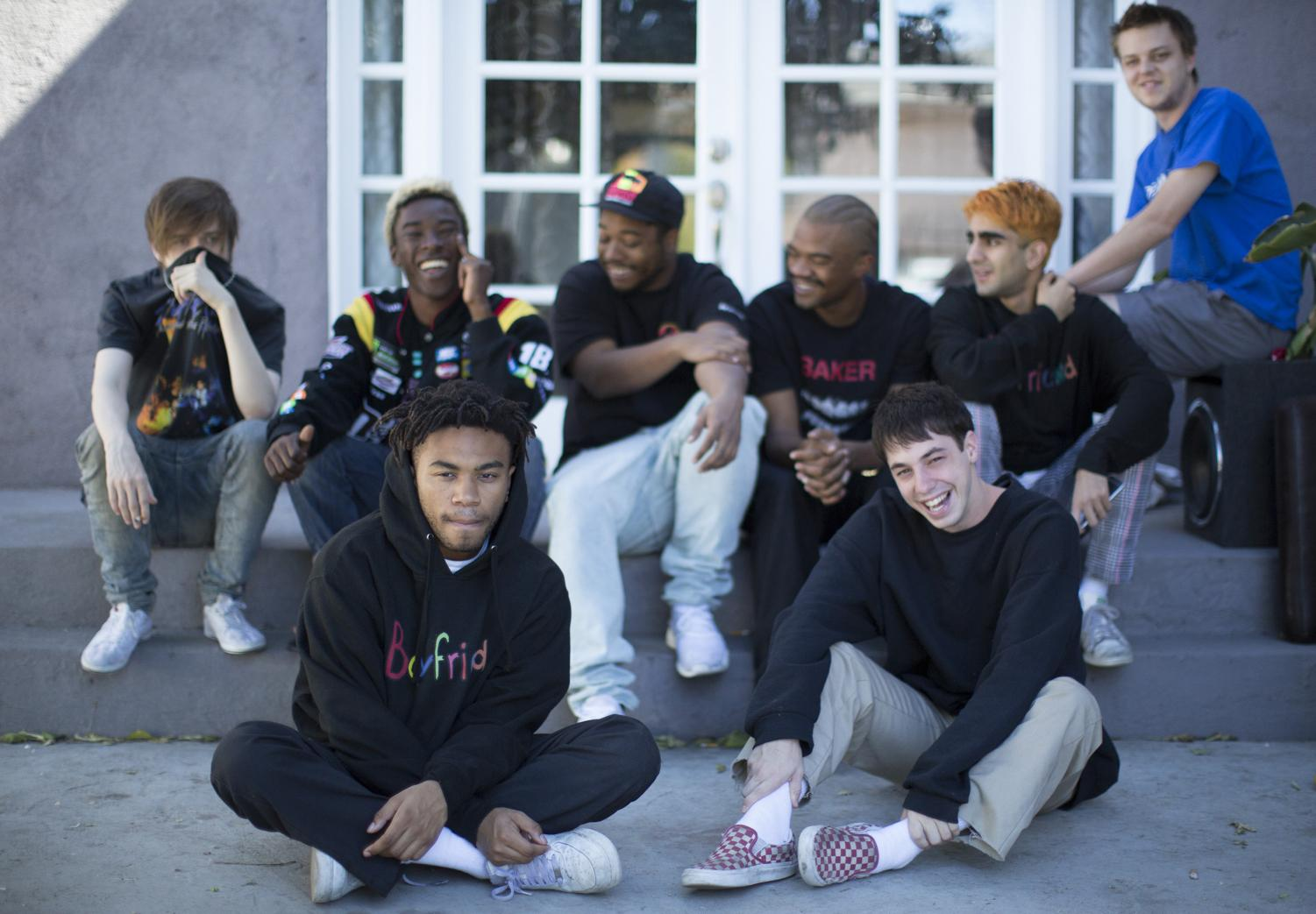 From front left, Kevin Abstract and Matt Champion; from rear left, bearface, Merlyn Wood, Dom McLennon, Ameer Vann, Romil Hemnani, JOBA. (Myung J. Chun/Los Angeles Times/TNS)