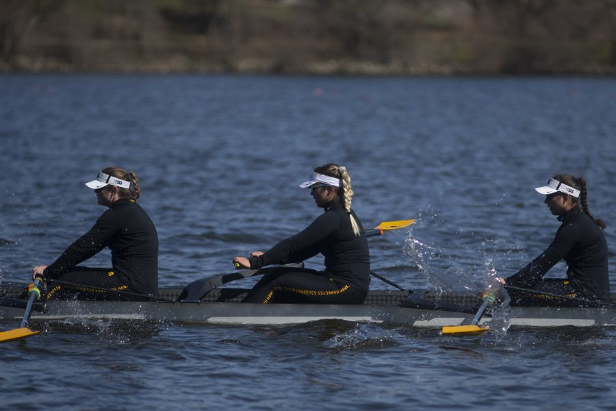 Iowa%27s+second+varsity+crew+rows+back+after+losing+to+Wisconsin+by+6.07+seconds+in+the+first+session+of+a+women%27s+rowing+meet+on+Lake+MacBride+on+Saturday+April+13%2C+2019.+Iowa+won+3+out+of+12+races+with+the+varsity+8+crew+winning+both+races+for+the+day.